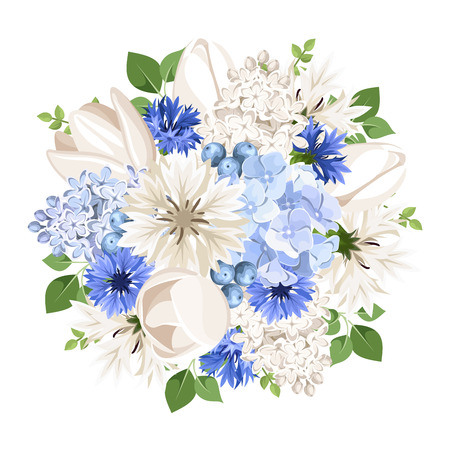 Vector bouquet of white and blue tulips, lilac, cornflowers and hydrangea flowers isolated on a white background.