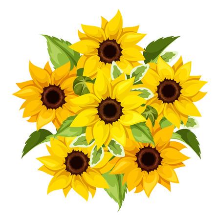 ひまわりの花束をベクトルします。ベクトルの図。