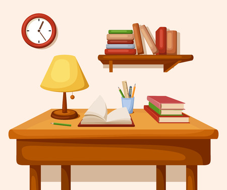 Table with books and lamp on it, shelf and clock. Vector interior. Vectores