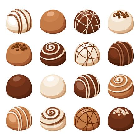 golosinas: Conjunto de dulces de chocolate. Ilustración del vector. Vectores