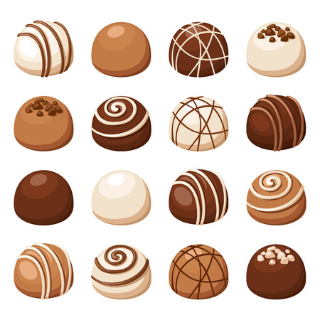 truffe blanche: Ensemble de bonbons au chocolat. Vector illustration. Illustration