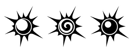Black silhouettes of suns. Vector illustration.