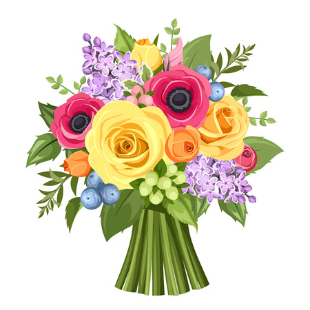 rosas naranjas: Ramo de rosas de colores, anémonas y flores de color lila. Ilustración del vector.