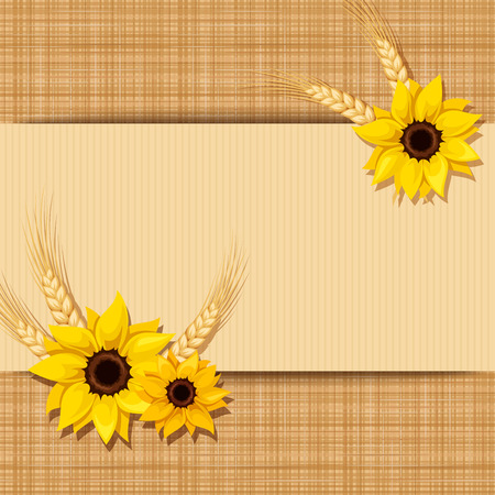 continue: Horizontal seamless background with sunflowers and ears of wheat. Vector illustration.