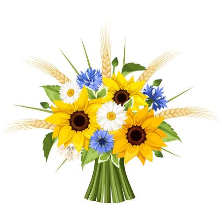 Boeket zonnebloemen, madeliefjes, korenbloemen en oren van tarwe. Vector illustratie.