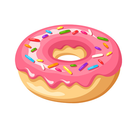 donut: Donut with pink glaze and colorful sprinkles. Vector illustration.