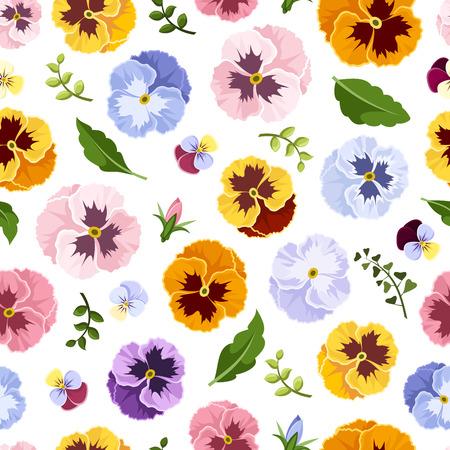 色とりどりのパンジーの花でシームレスなパターン。ベクトルの図。  イラスト・ベクター素材