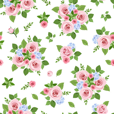 Seamless pattern with pink roses. Vector illustration. Vector