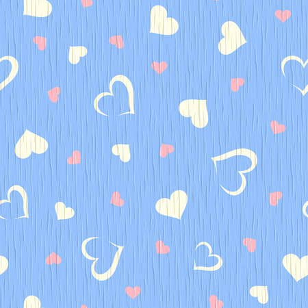 arboreal: Vector seamless blue wooden texture with hearts pattern.