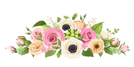 Pink, orange and white roses, lisianthuses, anemone flowers and green leaves. Vector illustration. Illustration