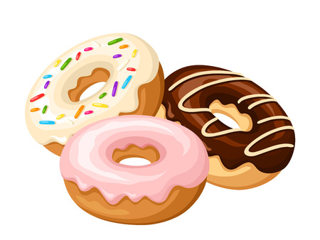 Three donuts with glaze and sprinkles isolated on a white background. Vector illustration. Vectores