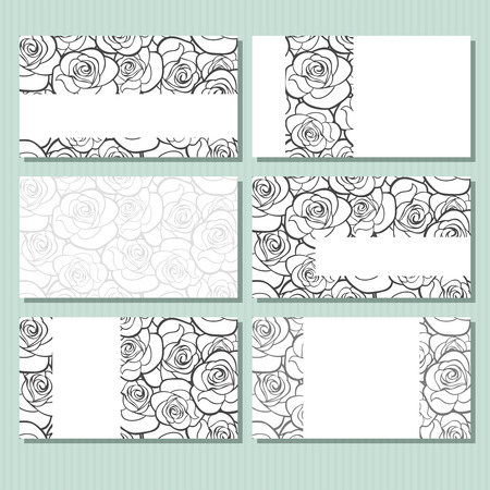 Business cards with roses pattern. Vector illustration.