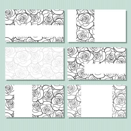 rosas negras: Tarjetas de visita con patrón de rosas. Ilustración del vector.