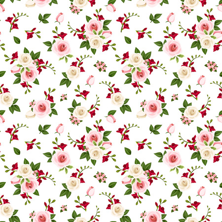 Vector seamless pattern with red, pink and white roses and freesia flowers and green leaves on a white background.
