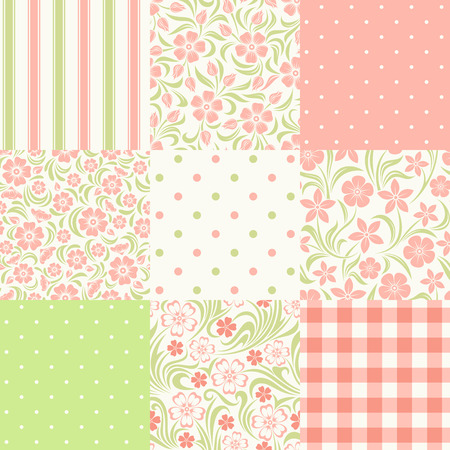 pink and green: Vector set of nine seamless floral and geometric patterns in pink, green and white colors. Illustration