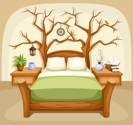 Fantasy bedroom interior. Vector illustration.