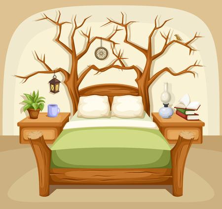 letti: Interno Fantasy camera da letto. Illustrazione vettoriale.