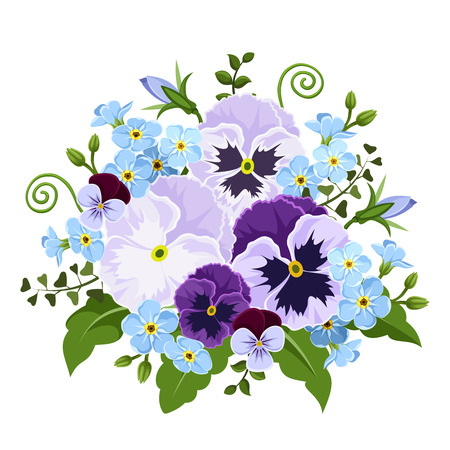 Pansy and forget-me-not flowers. Vector illustration.