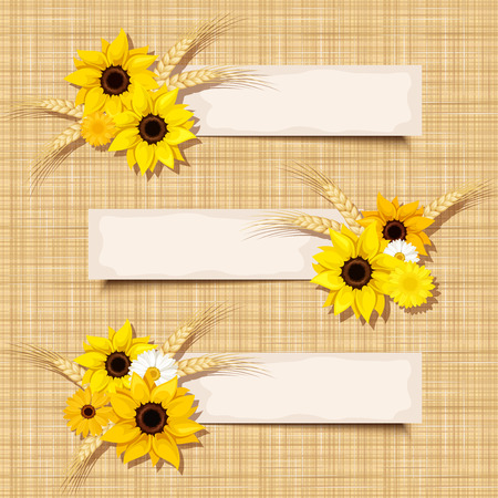 Vector banners with sunflowers and ears of wheat on a sacking background.