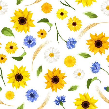 girasol: Patrón sin fisuras con flores de verano. Ilustración del vector.
