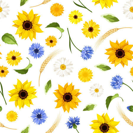 gerbera daisies: Seamless pattern with summer flowers. Vector illustration.