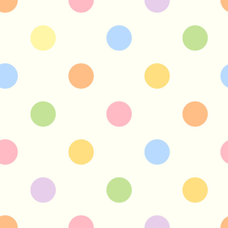 Vector seamless pastel colorful polka dot pattern.