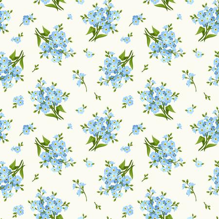 青いワスレナグサの花のシームレスなパターン。ベクトルの図。  イラスト・ベクター素材