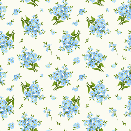 floret: Seamless pattern with blue forget-me-not flowers. Vector illustration.