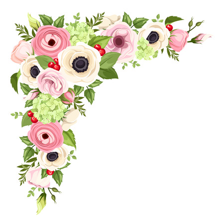 Pink and white anemones, lisianthuses, ranunculus and hydrangea flowers and green leaves. Vector corner background.