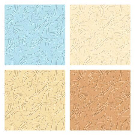 4 抽象的なシームレスなベージュと青のパターンのベクトルを設定します。
