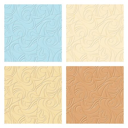 Vector set of four abstract seamless beige and blue patterns. Çizim