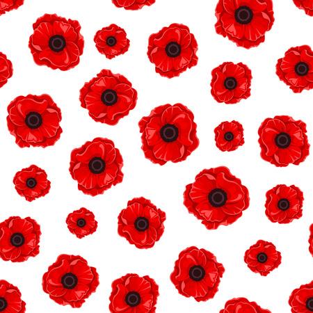 bovenaanzicht plant: Naadloos patroon met rode klaprozen. Vector illustratie.