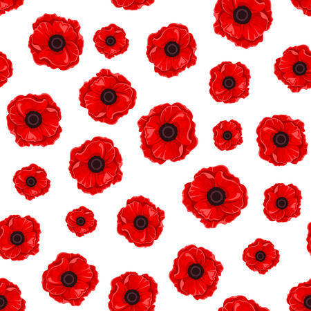 poppies: Seamless pattern with red poppies. Vector illustration.