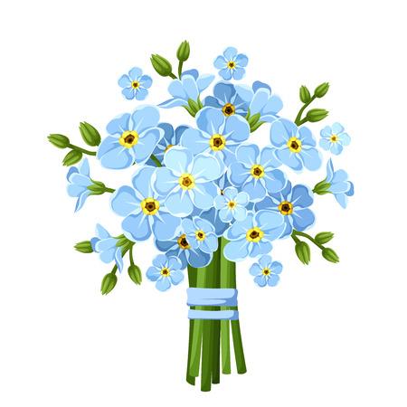 mazzo di fiori: Bouquet di blu dimenticare-me-non fiori. Illustrazione vettoriale.