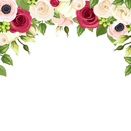 Background with red, pink and white flowers. Vector illustration. Çizim