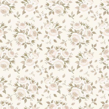 バラでシームレスなベージュ パターン。ベクトルの図。  イラスト・ベクター素材