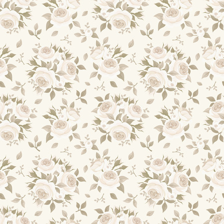 ivory: Seamless beige pattern with roses. Vector illustration.