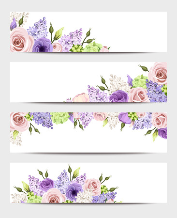 Web banners with pink, purple and white roses and lilac flowers. Vector eps-10.