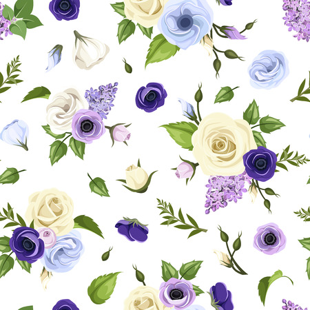 anemones: Seamless pattern with blue, purple and white roses, lisianthuses, anemones and lilac flowers. Vector illustration.