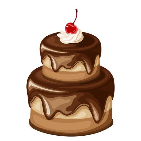 gateau: Vector due stanco torta al cioccolato con ciliegia isolato su uno sfondo bianco.