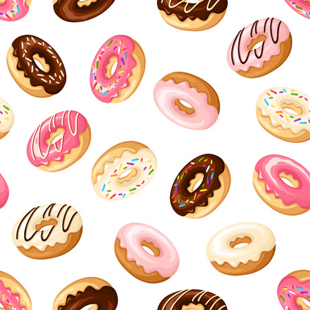sweet food: Seamless background with donuts. Illustration