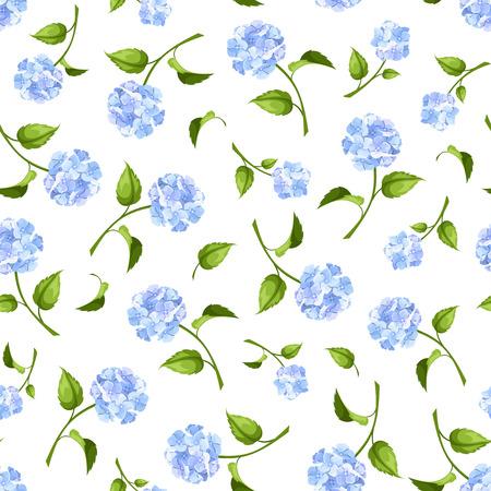 白地に青いアジサイの花とシームレスなパターンをベクトル。