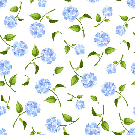 Vector seamless pattern with blue hydrangea flowers on a white background.