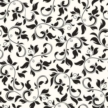 Naadloze zwart-wit bloemenpatroon. Vector illustratie.