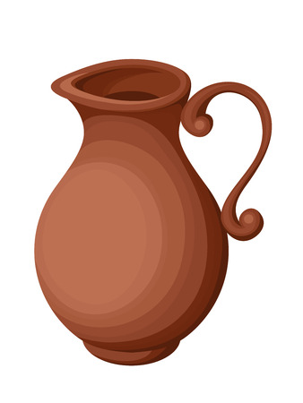 sienna: Vector clay empty jug isolated on a white background.