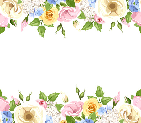 Vector horizontal seamless background with pink, yellow, blue and white roses, lisianthuses, lilac and hydrangea flowers and green leaves.