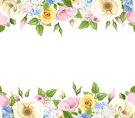 Vector horizontale nahtlose Hintergrund mit rosa, gelb, blau und weißen Rosen, lisianthuses, Flieder und Hortensien Blüten und grünen Blättern. Standard-Bild - 41623504