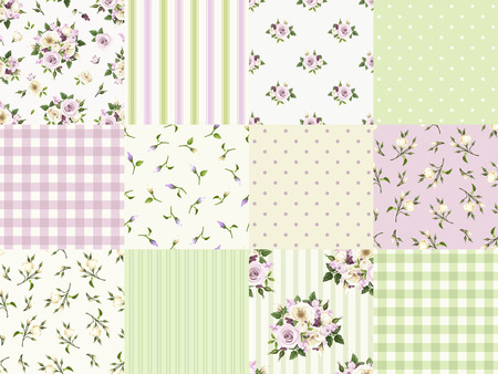 Vector set of seamless floral and geometric patterns for scrapbooking in green purple and white colors. Stock Illustratie