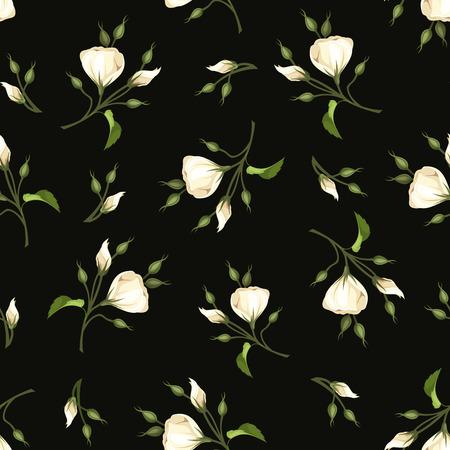fondo verde oscuro: Vector sin patr�n con flores lisianthus blancos sobre un fondo de color verde oscuro.