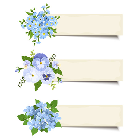 Set of three vector beige web banners with blue forgetmenot flowers pansies and plumbago flowers.